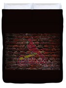 Cardinals Baseball Graffiti On Brick  Duvet Cover by Movie Poster Prints