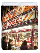 Carnival Hot Dog On A Stick Duvet Cover by Jason O Watson