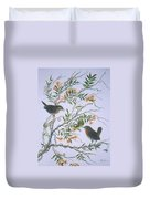 Carolina Wren And Jasmine Duvet Cover by Ben Kiger