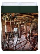 Carpenter - This Old Shop Duvet Cover by Mike Savad