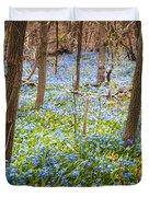 Carpet of blue flowers in spring forest Duvet Cover by Elena Elisseeva