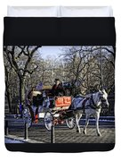 Carriage Driver - Central Park - Nyc Duvet Cover by Madeline Ellis