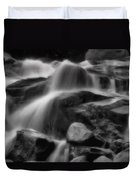 Cascades In Black And White Duvet Cover by Ellen Heaverlo