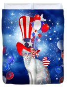 Cat In Patriotic Hat Duvet Cover by Carol Cavalaris