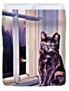 Cat On Window Sill Duvet Cover by John Malone
