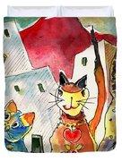 Cat Town In Lanzarote Duvet Cover by Miki De Goodaboom
