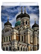 Cathedral in Tallinn Duvet Cover by David Smith