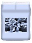Cedar Falls In Winter Duvet Cover by Dan Sproul