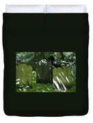 Cemetery With Ancient Gravestones And Black Crow  Duvet Cover by Georgia Fowler