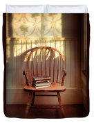 Chair And Lace Shadows Duvet Cover by Jill Battaglia