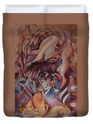 Chaos Management Or Adolf And Eva Duvet Cover by Mikhail Savchenko