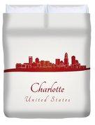 Charlotte Skyline In Red Duvet Cover by Pablo Romero