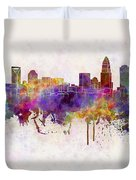 Charlotte Skyline In Watercolor Background Duvet Cover by Pablo Romero