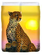 Cheetah And Cubs Duvet Cover by MGL Studio - Chris Hiett