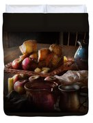 Chef - Food - A Tribute To Rembrandt - Apples And Rolls  Duvet Cover by Mike Savad