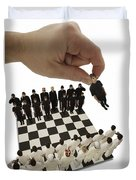 Chess Being Played With Little People Duvet Cover by Darren Greenwood