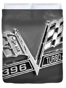 Chevy 396 Turbo-jet Emblem Black And White Picture Duvet Cover by Paul Velgos