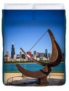 Chicago Adler Planetarium Sundial And Chicago Skyline Duvet Cover by Paul Velgos