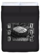 Chicago Bulls Banners In Black And White Duvet Cover by Thomas Woolworth