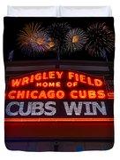 Chicago Cubs Win Fireworks Night Duvet Cover by Steve Gadomski