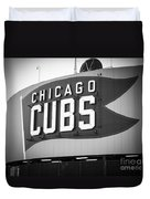 Chicago Cubs Wrigley Field Sign Black And White Picture Duvet Cover by Paul Velgos