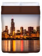 Chicago Downtown City Lakefront With Willis-sears Tower Duvet Cover by Paul Velgos
