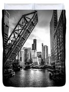 Chicago Kinzie Street Bridge Black And White Picture Duvet Cover by Paul Velgos