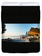 Chicago Lakefront Panorama Duvet Cover by Steve Gadomski