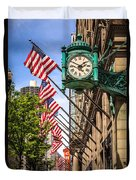 Chicago Macy's Clock And Chicago Theatre Sign Duvet Cover by Paul Velgos