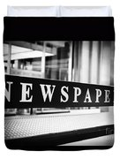 Chicago Newspapers Stand Sign In Black And White Duvet Cover by Paul Velgos