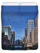Chicago River Duvet Cover by Sebastian Musial