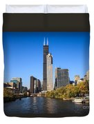Chicago River With Willis-sears Tower Duvet Cover by Paul Velgos