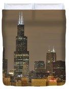 Chicago Skyline at Night Duvet Cover by Sebastian Musial