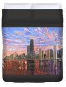 Chicago Skyline - Lake Michigan Duvet Cover by Mike Rabe