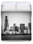 Chicago Skyline With Sears Tower In Black And White Duvet Cover by Paul Velgos