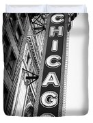 Chicago Theatre Sign in Black and White Duvet Cover by Paul Velgos