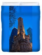 Chicago Water Tower Panorama Duvet Cover by Steve Gadomski