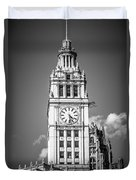Chicago Wrigley Building Clock Black And White Picture Duvet Cover by Paul Velgos