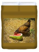 Chicken And Her Watermelon Duvet Cover by Sandi OReilly