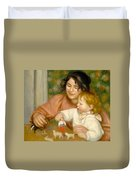 Child With Toys Gabrielle And The Artist S Son Jean Duvet Cover by Pierre Auguste Renoir