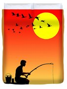 Childhood Dreams 3 Fishing Duvet Cover by John Edwards