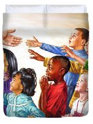Children Coming to Jesus Duvet Cover by John Lautermilch
