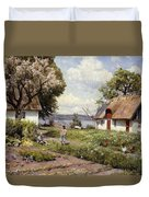 Children In A Farmyard Duvet Cover by Peder Monsted