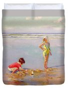 Children On The Beach Duvet Cover by Charles-Garabed Atamian