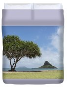 Chinamans Hat With Tree - Oahu Hawaii Duvet Cover by Brian Harig