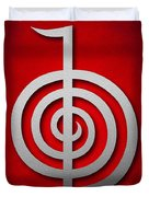 Cho Ku Rei - Silver On Red Reiki Usui Symbol Duvet Cover by Cristina-Velina Ion
