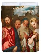 Christ and the Woman Taken in Adultery Duvet Cover by Veronese