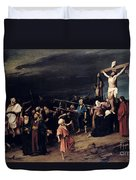 Christ On The Cross Duvet Cover by Mihaly Munkacsy