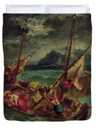 Christ On The Sea Of Galilee Duvet Cover by Delacroix