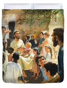 Christ With Children Duvet Cover by Peter Seabright